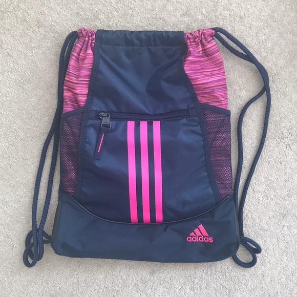 45516ccd901273 adidas Bags | Nwot Pink And Navy Drawstring Bag | Poshmark